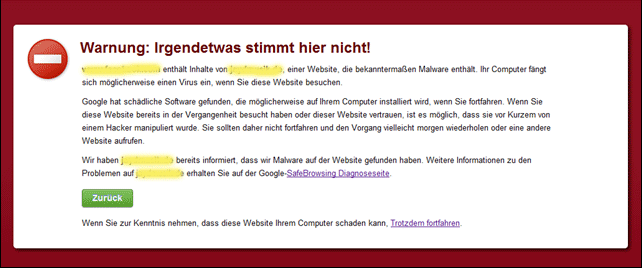 google malware warnung